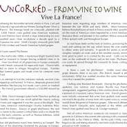 """Vive La France!"" – Carla's ""Uncorked"" article in the January 2016 Mountain Laurel"