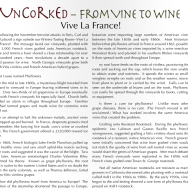 """""""Vive La France!"""" – Carla's """"Uncorked"""" article in the January 2016 Mountain Laurel"""