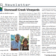 Stonewall Creek Vineyards featured in May 2016 Issue of Lake Burton Civic Assn. Newsletter